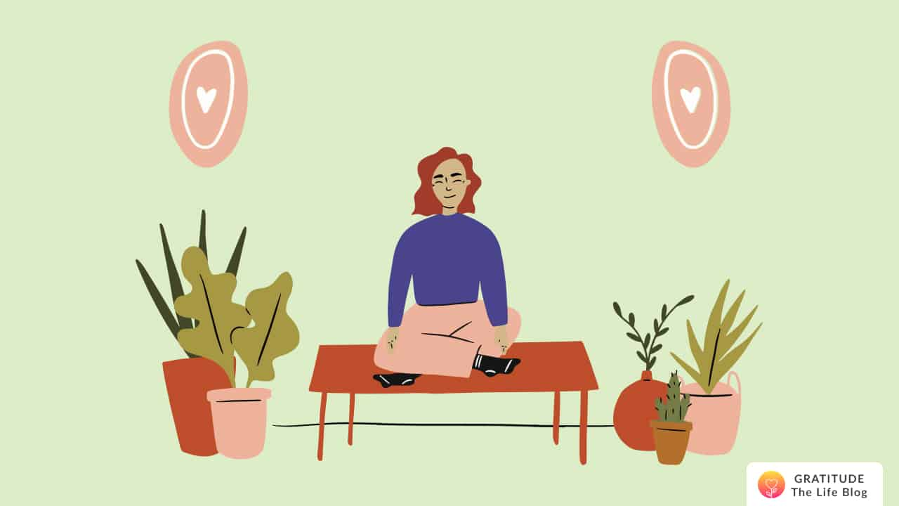 This is an image of a woman meditating to improve her mental health