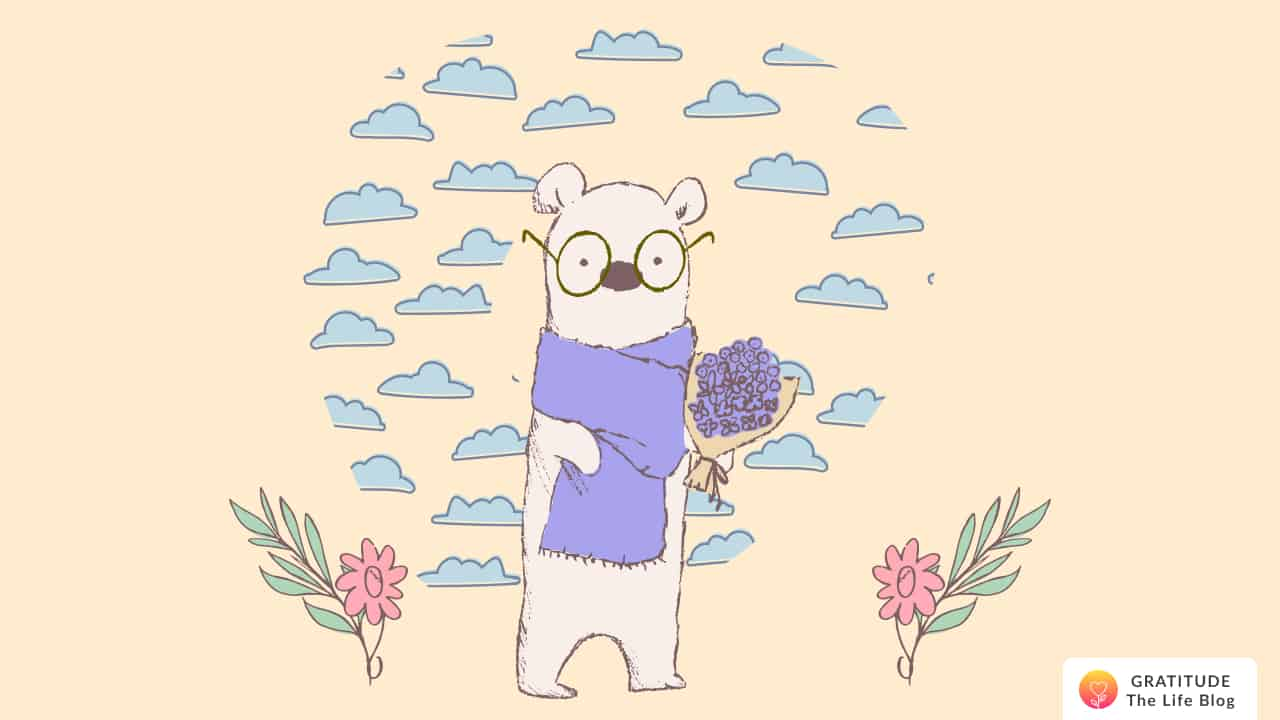 A bear holding a bouquet with small clouds around him