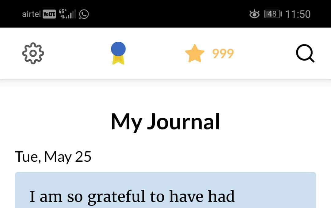 A mobile screenshot showing Jignesh's 999 days journal streak