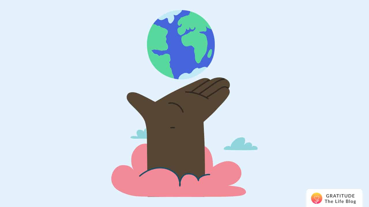 A hand coming out of a cloud presenting the earth