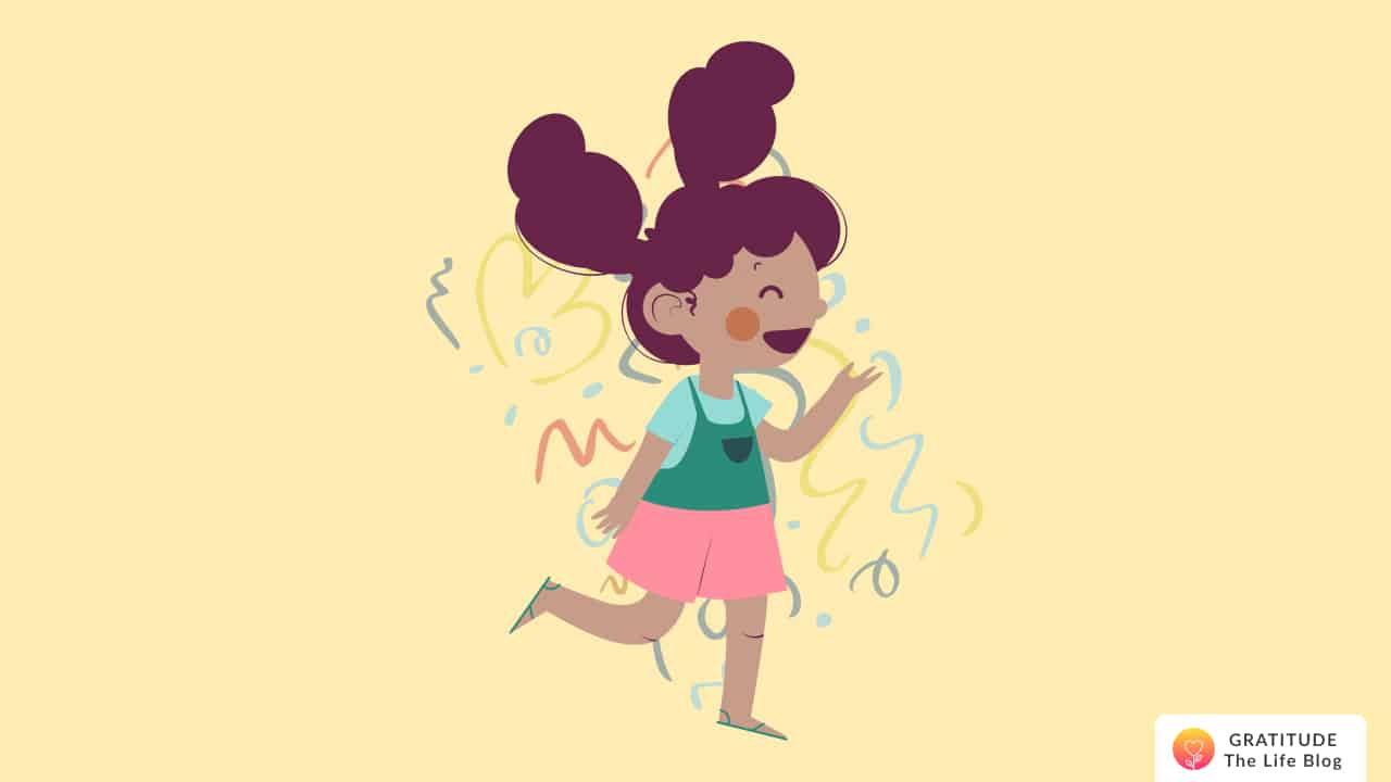 Illustration of a little girl laughing as she walks