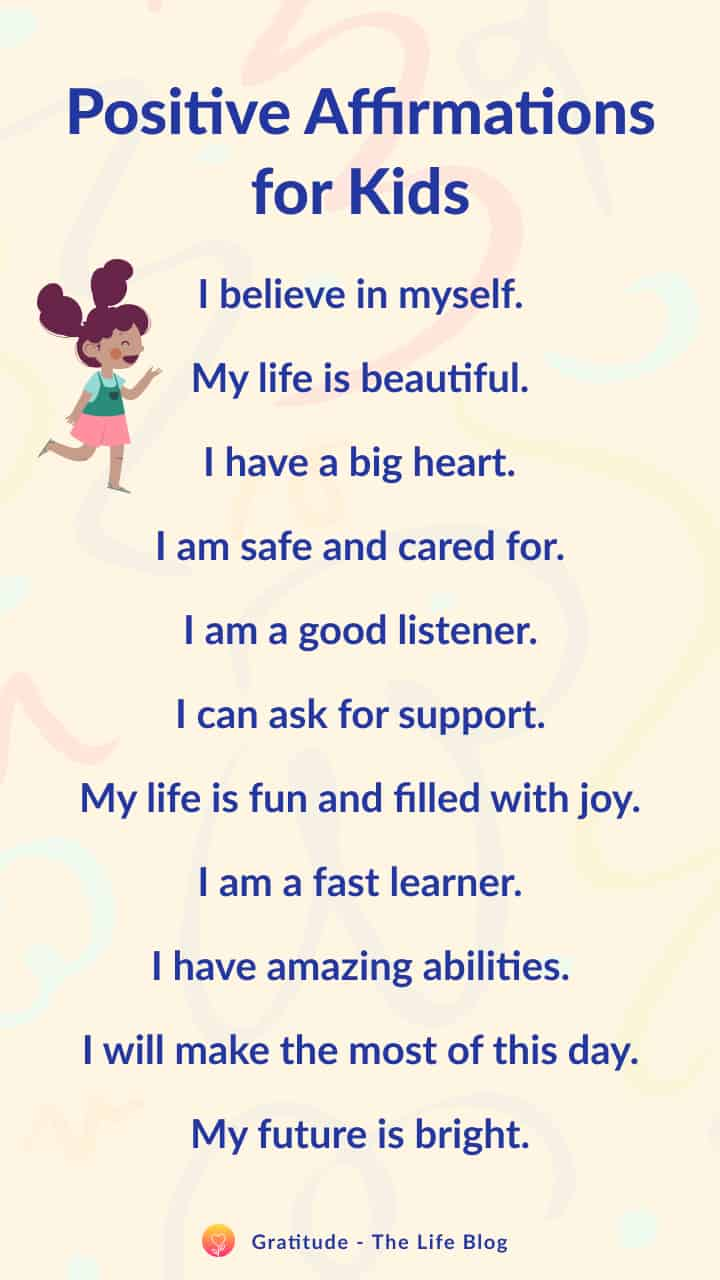 List of positive affirmations for kids