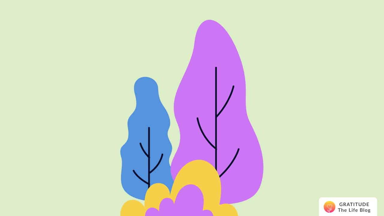 Illustration of two colourful trees behind bushes