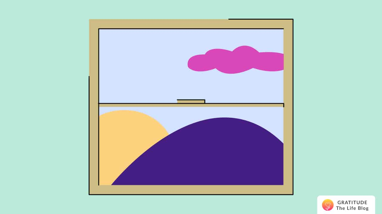 illustration of a window showing colourful outdoors