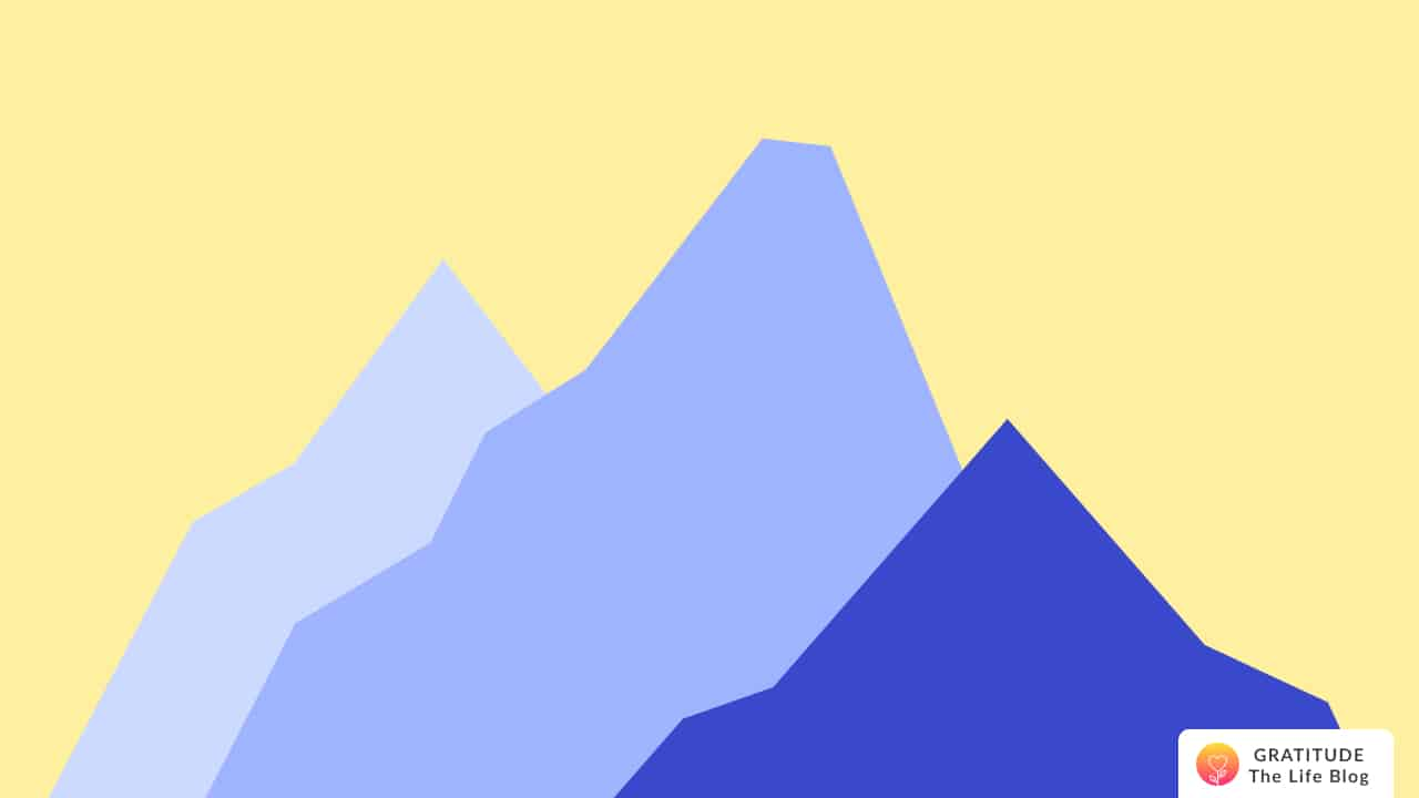 Illustration with blue mountains