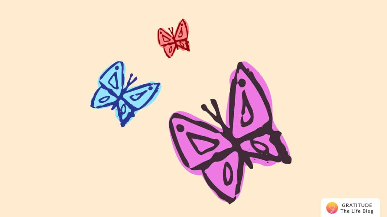 Illustration of three fluttering butterflies