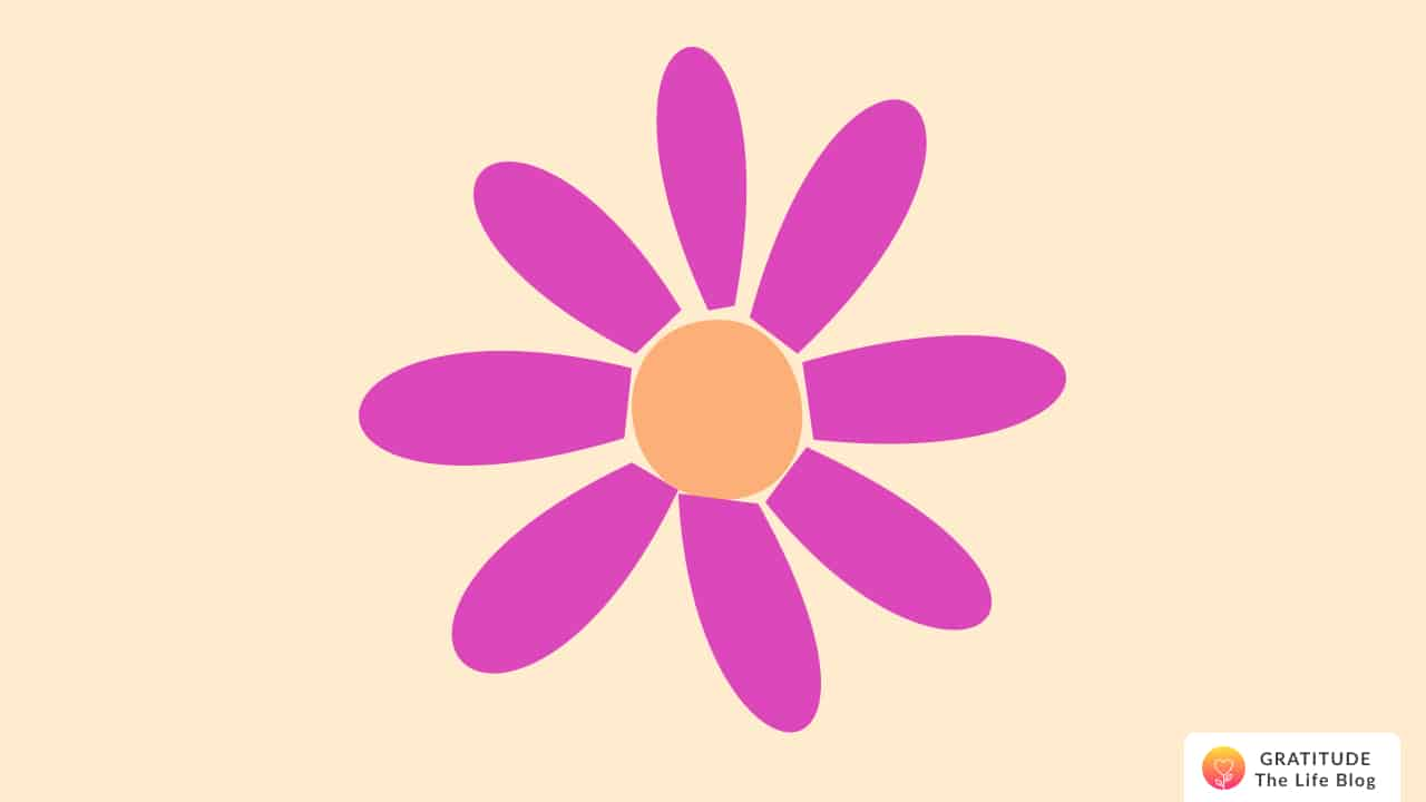 Illustration with a magenta flower