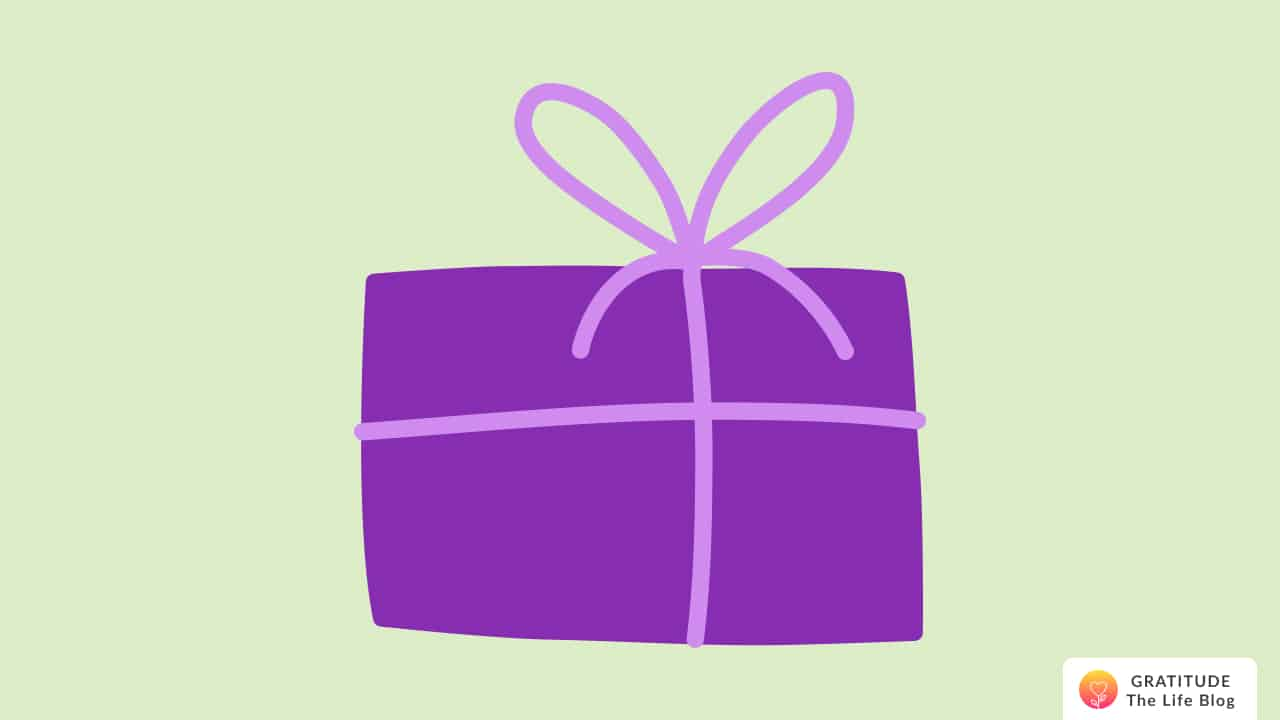 Illustration of a present wrapped in purple paper