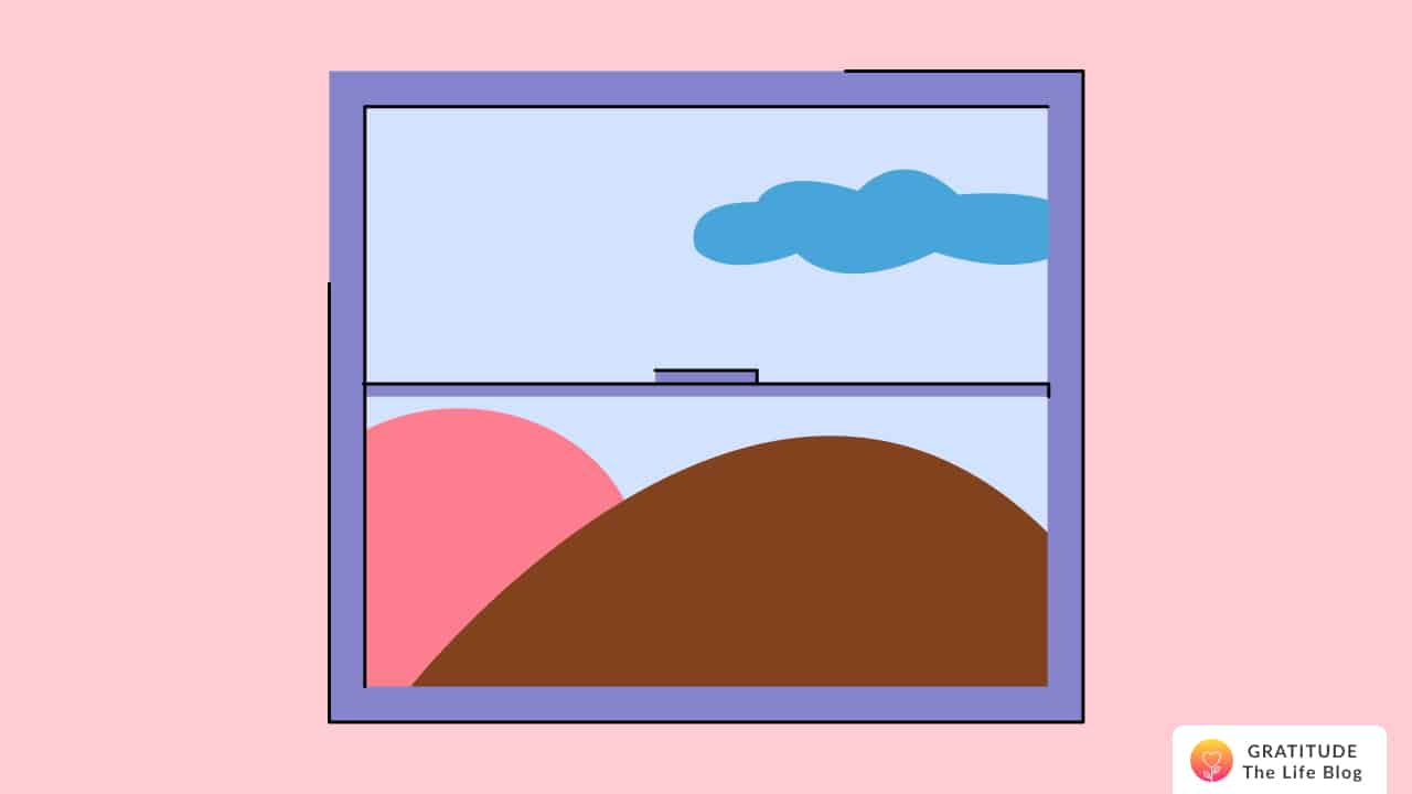 Illustration of a window showing the world outside