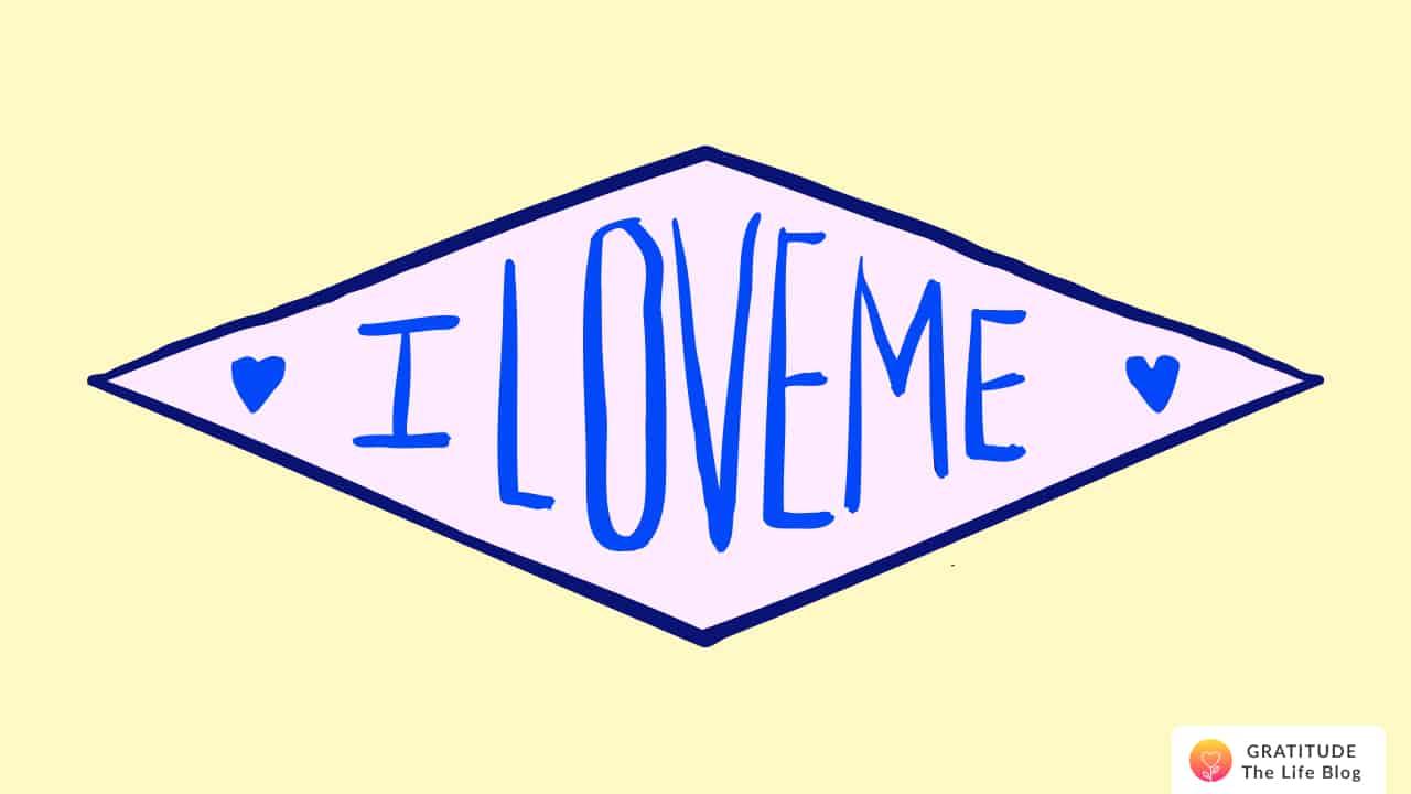 """Illustration of a banner having """"I LOVE ME"""" written on it"""