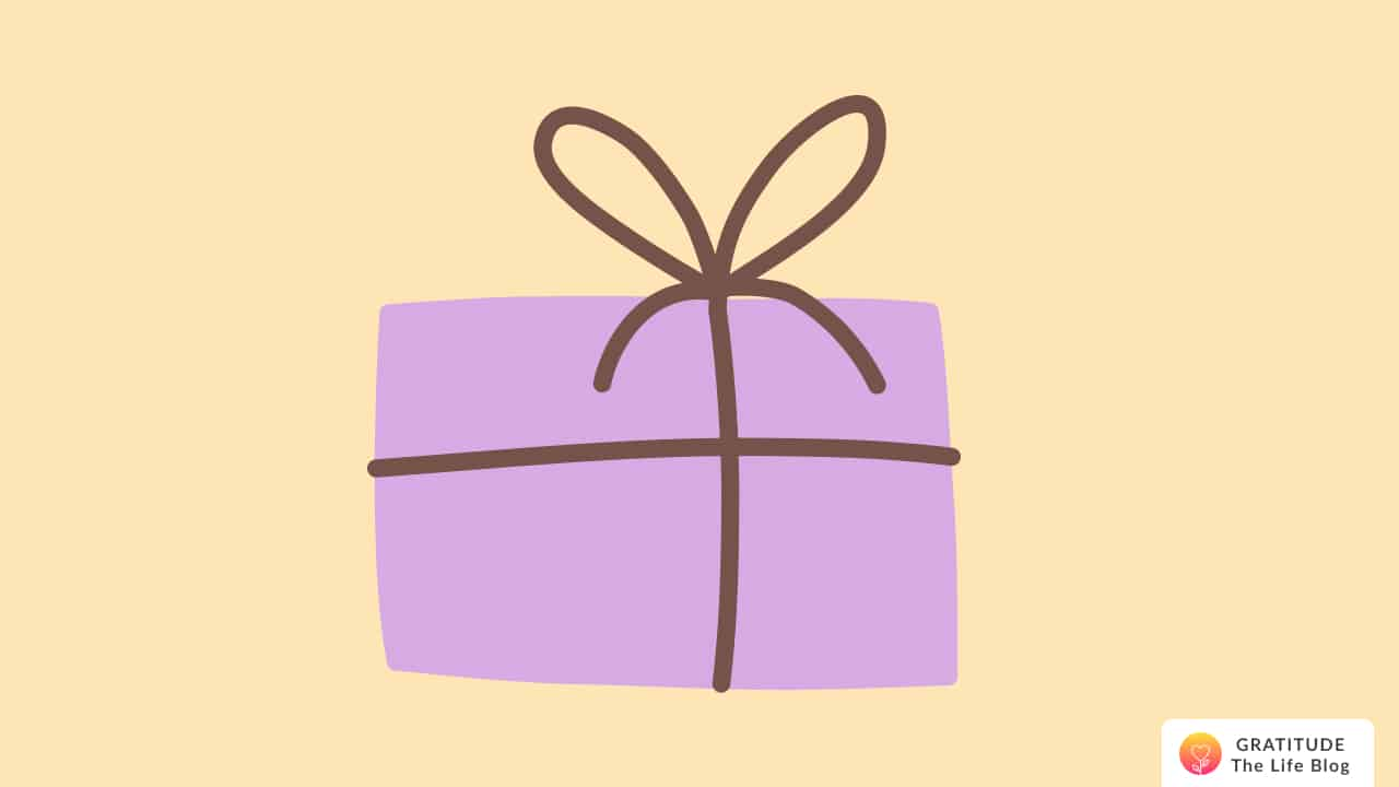 A lavender-coloured gift box