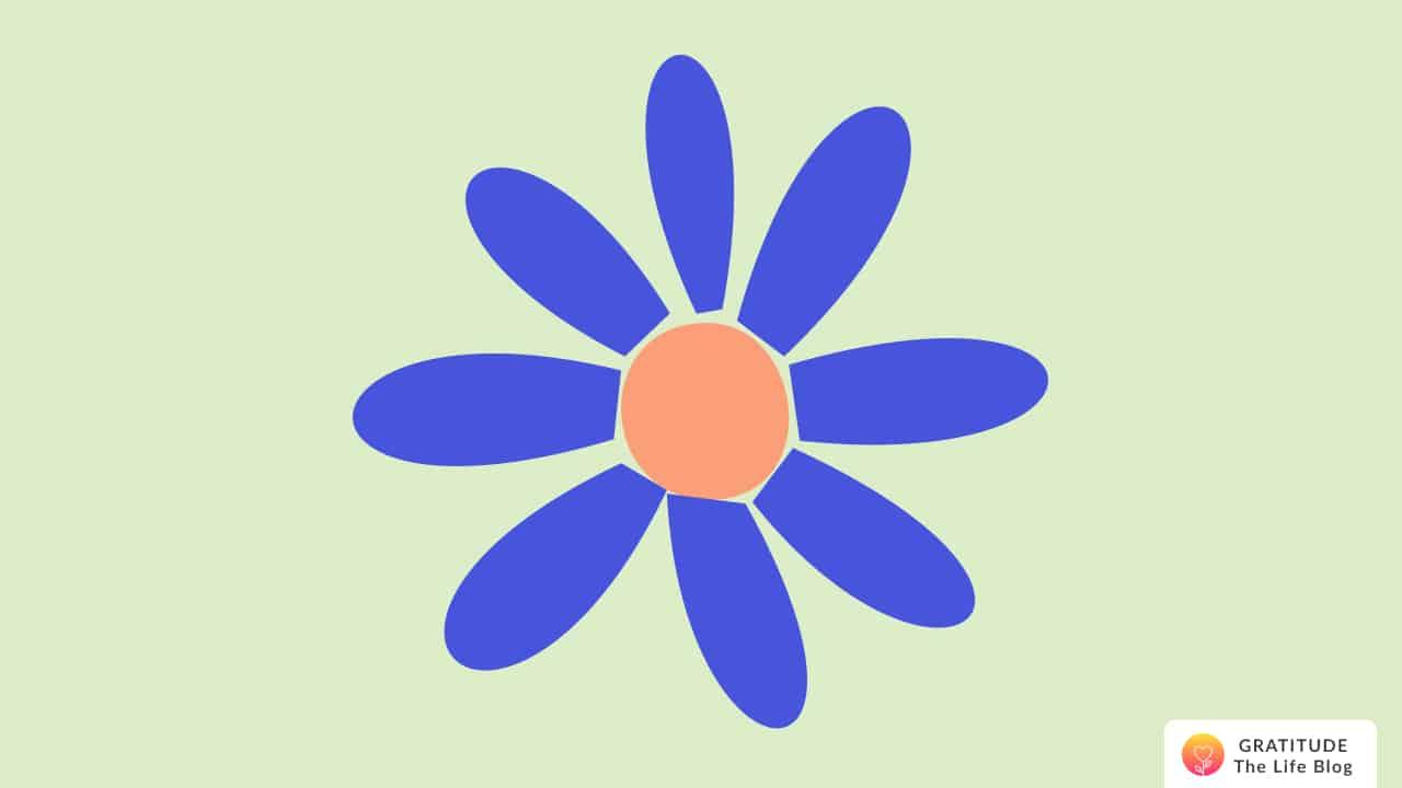 Illustration of a blue and orange flower