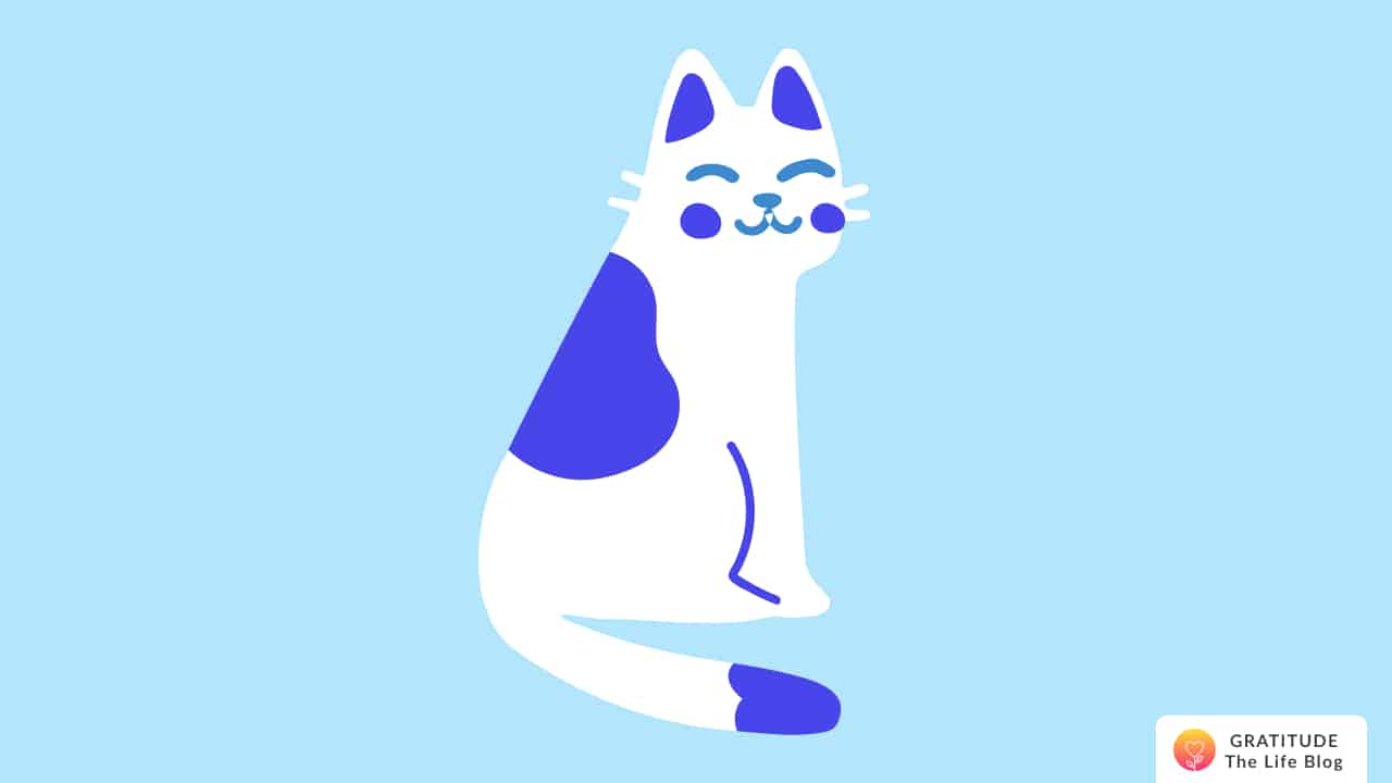 illustration of a white and blue cat