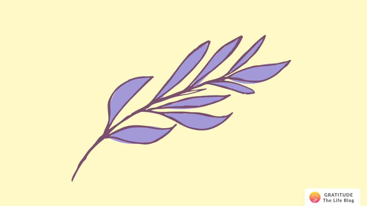 Illustration with a brown stem of purple leaves