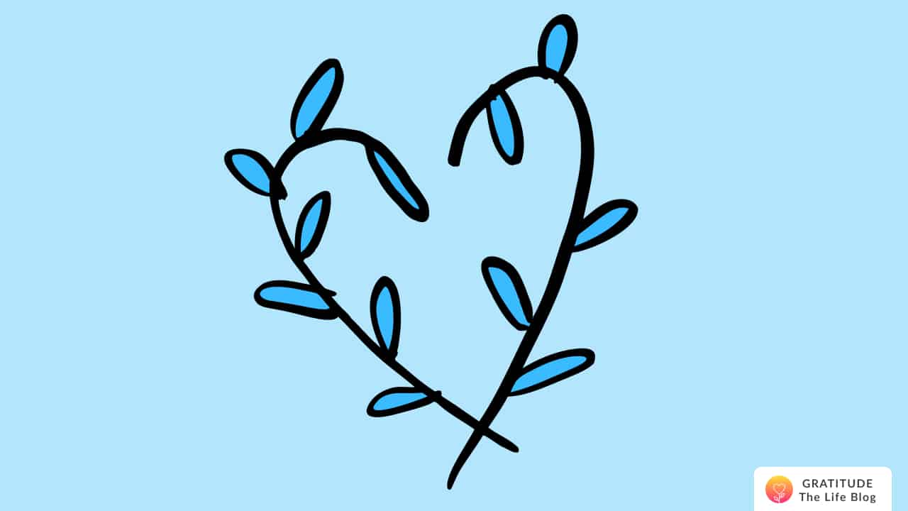 Illustration of heart made of blue leaves