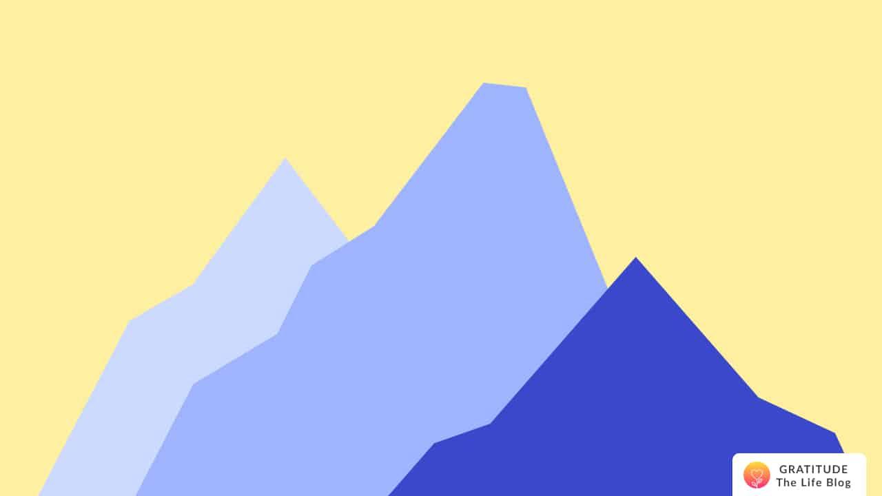 Illustration with blue mountain range