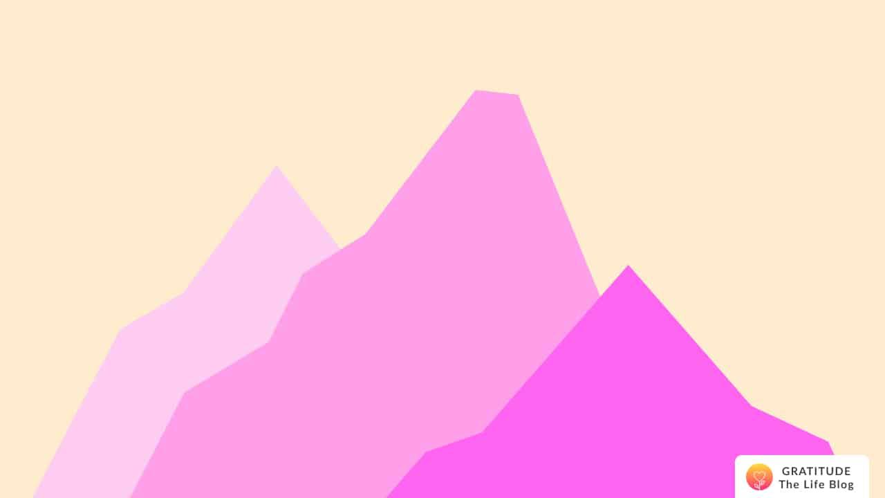 Illustration of three pink mountains