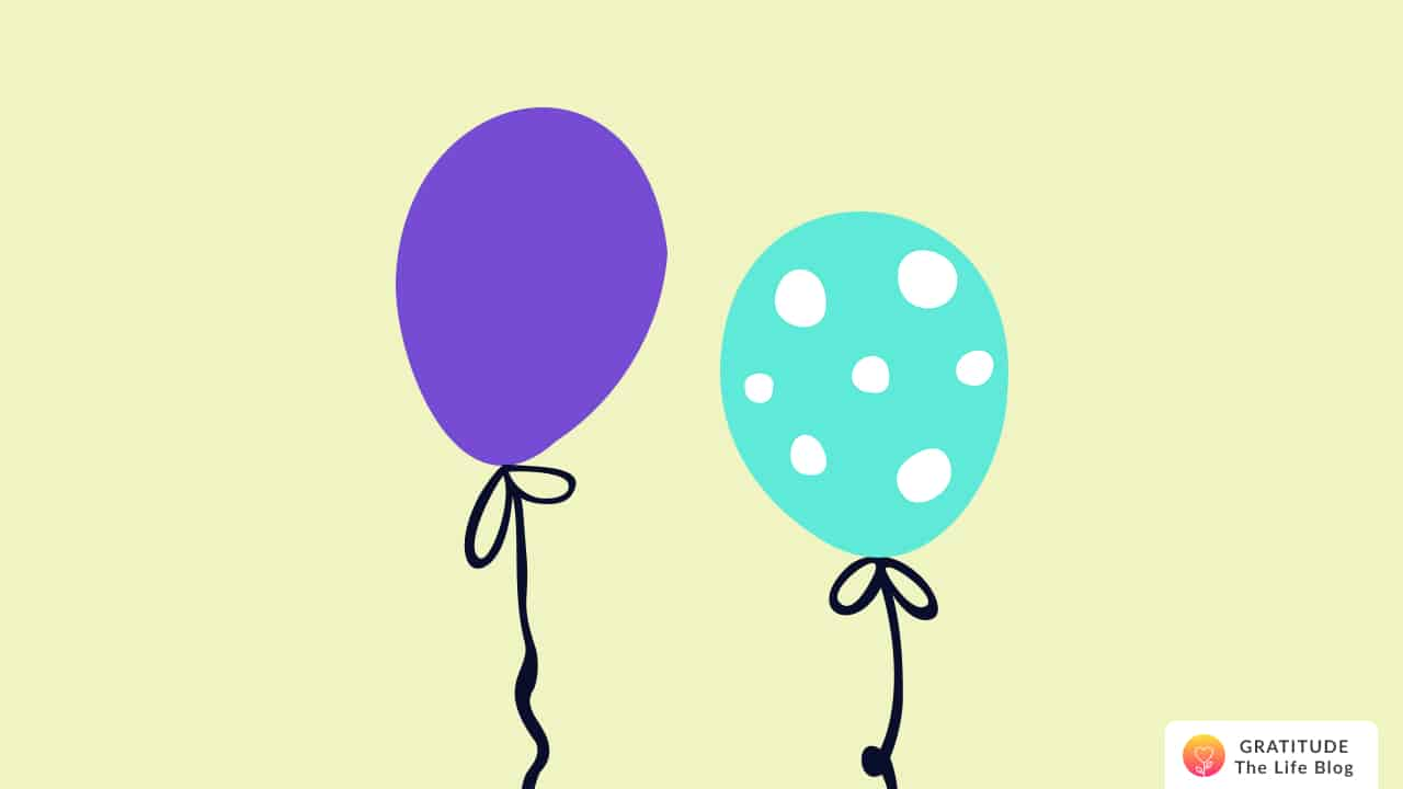Illustration of a purple and a green balloon