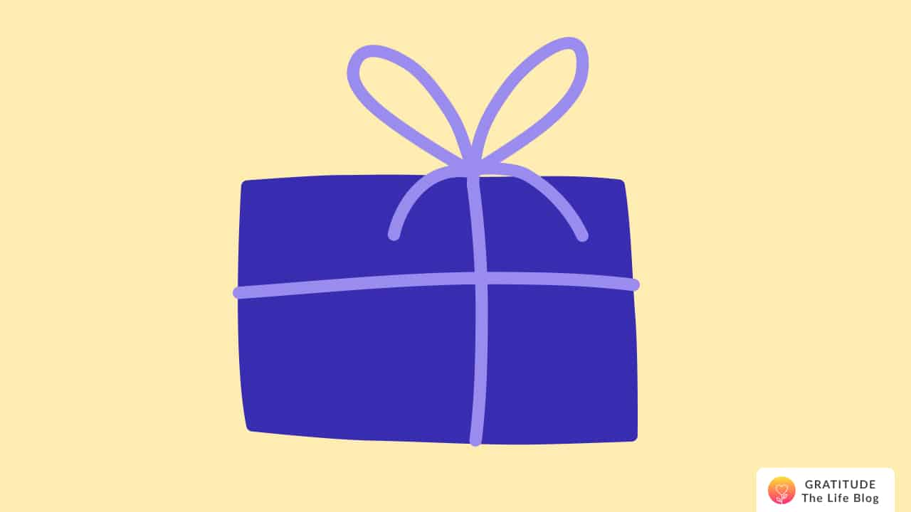 Illustration showing a present wrapped in blue paper