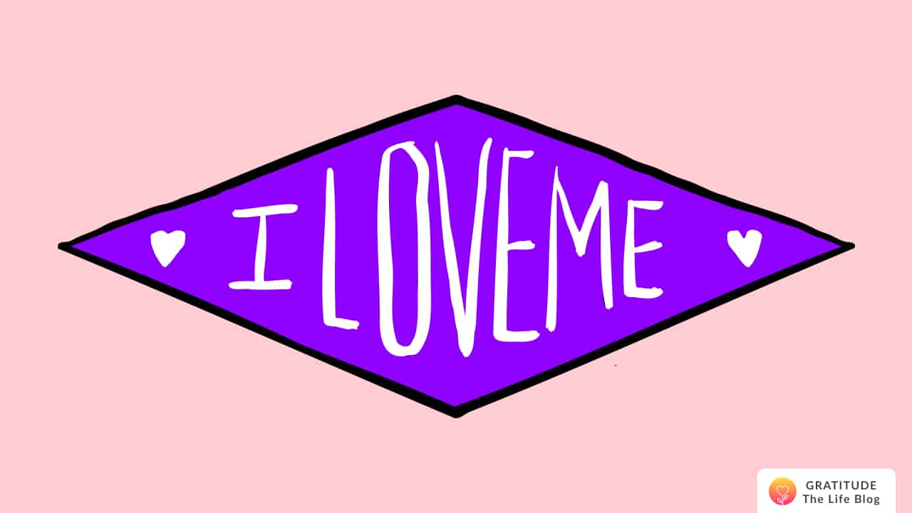 """A purple legend with the words """"I LOVE ME"""""""