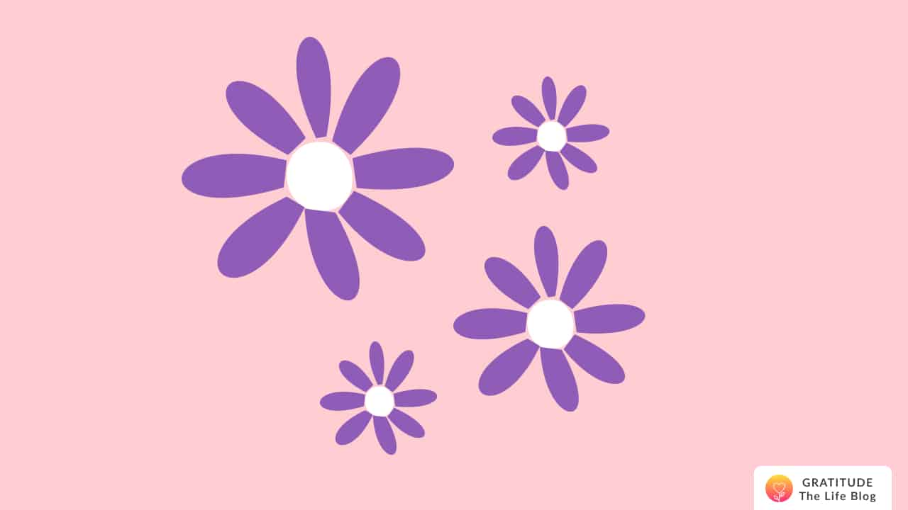 Illustration of four purple flowers