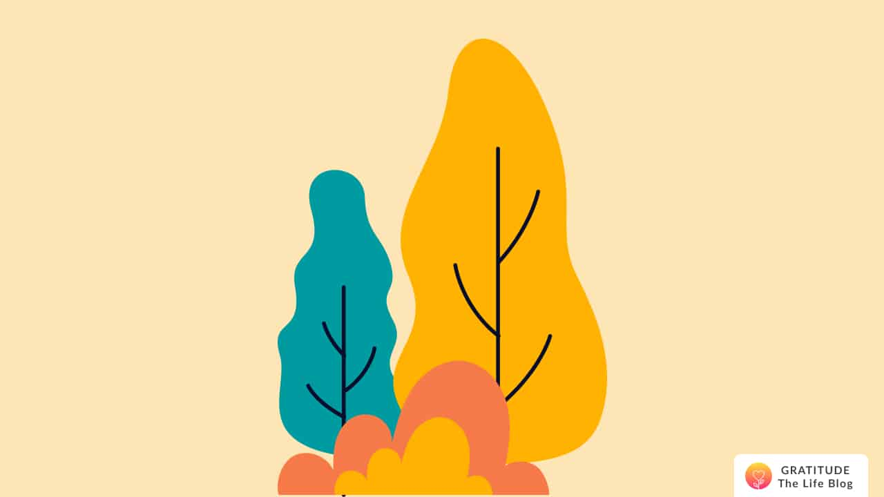 Illustration with a bush and two trees