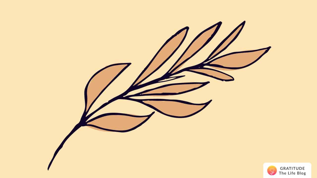 Illustration of a brown leaf branch
