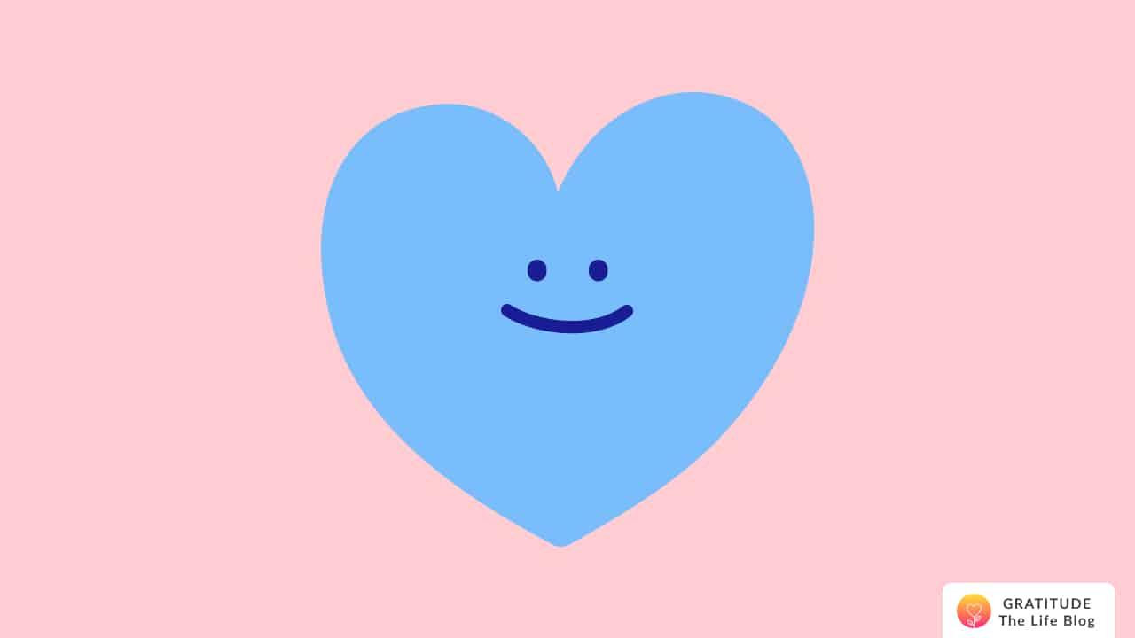 Illustration of a blue smiling heart