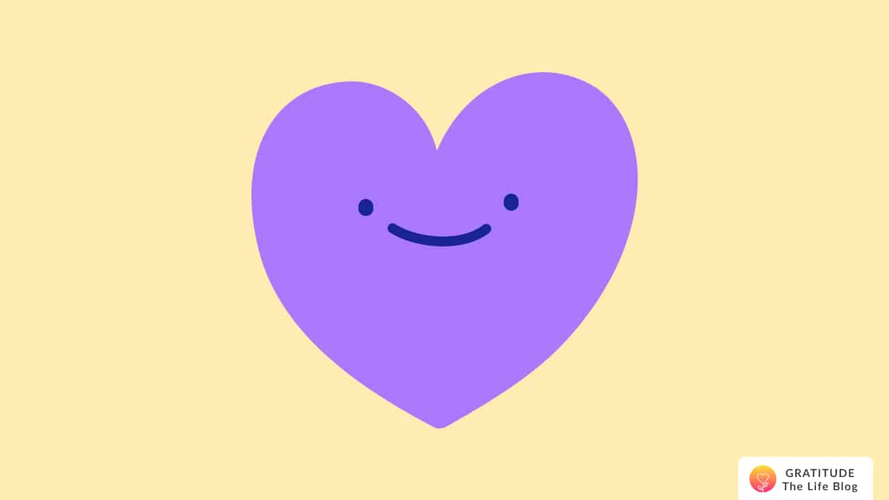 Illustration of a purple smiling heart
