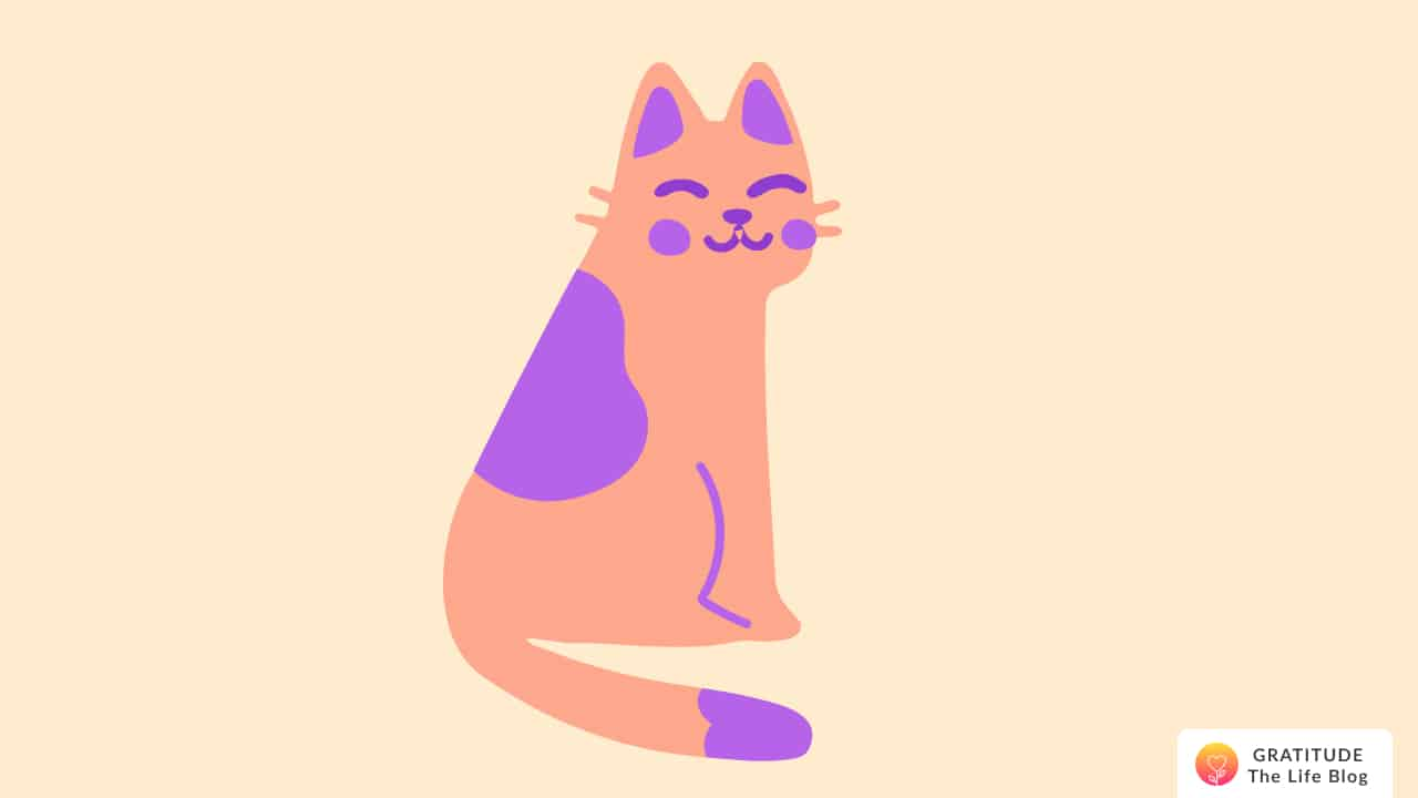 Illustration of an orange and purple smiling cat