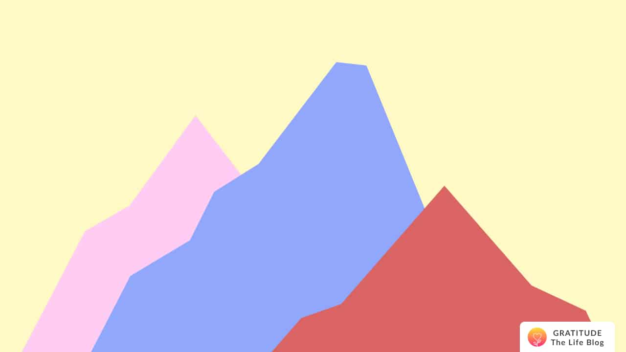 Illustration with colourful mountains