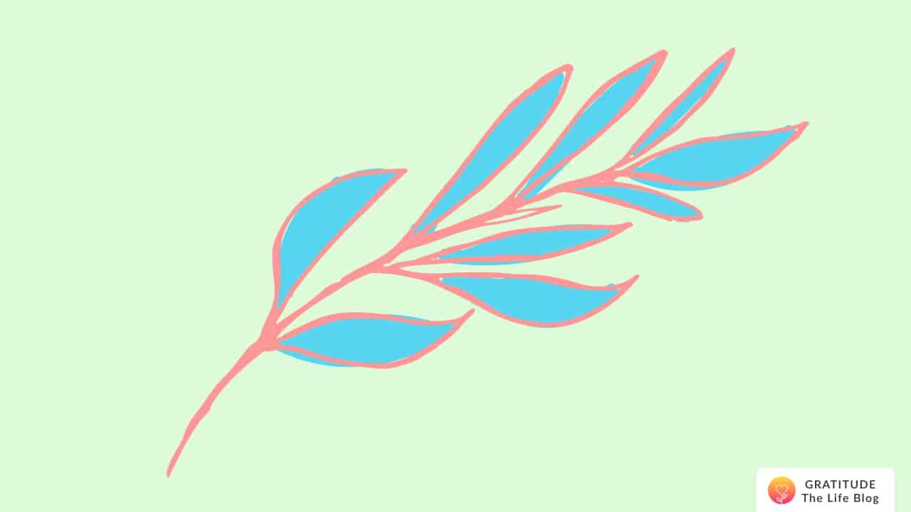 Illustration of a blue and red leaf stem