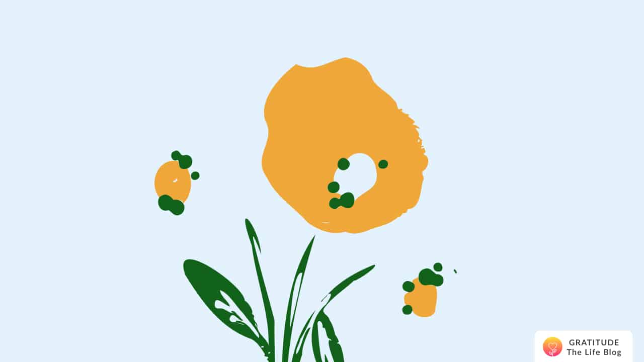 Illustration of an orange flower and its leaves