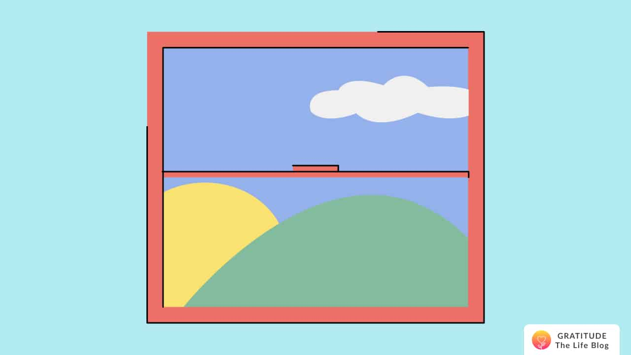 A window showing the sun, sky, and mountains
