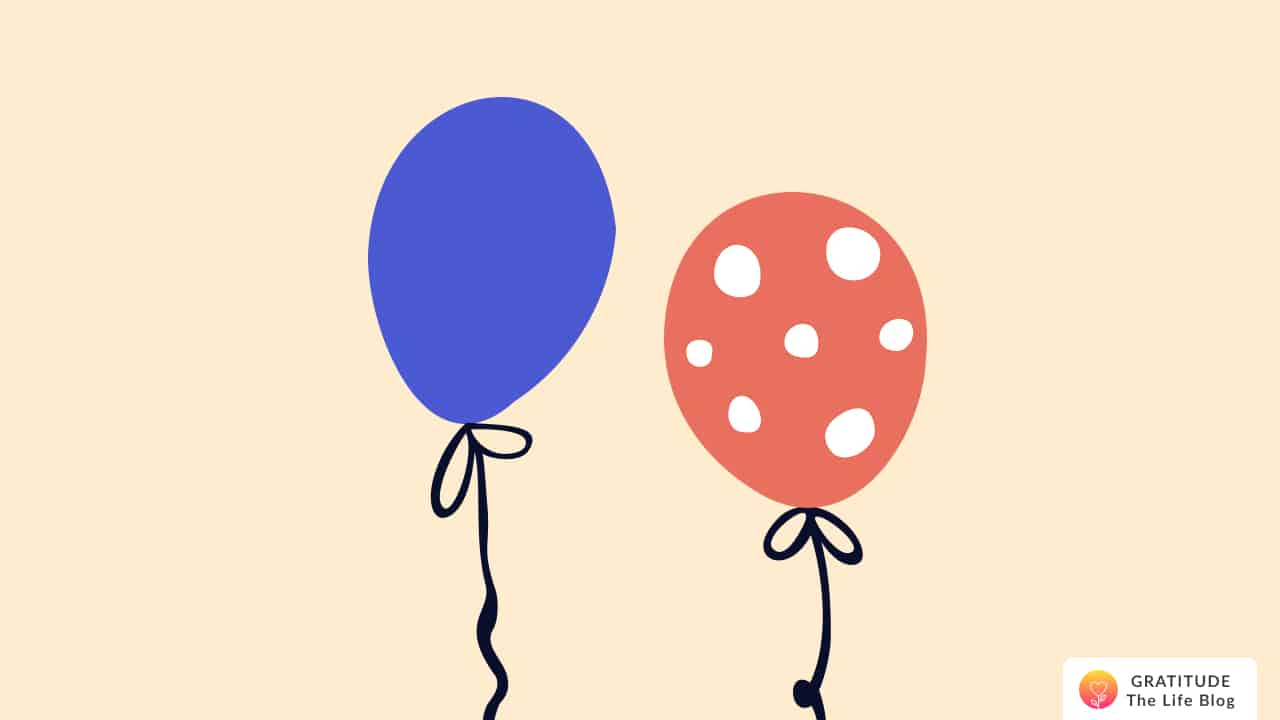 Illustration with one blue balloon and another dotted orange balloon