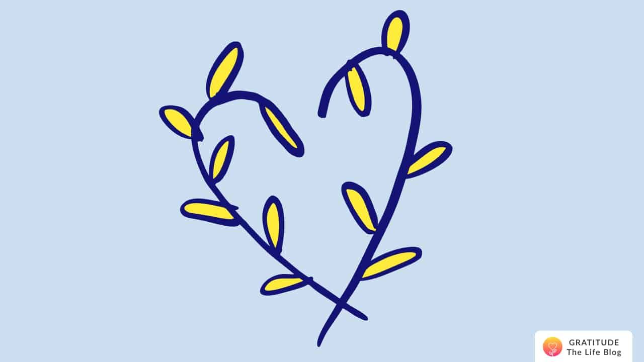 Illustration of a dark-blue and yellow heart of leaves