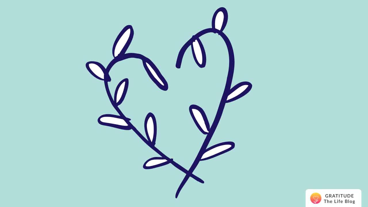 A dark blue heart of white leaves