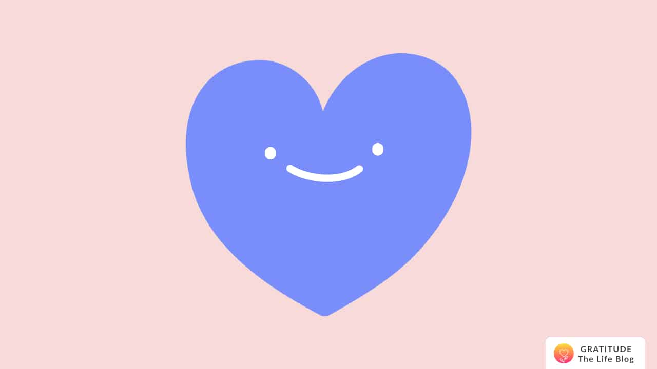 Illustration of a blue heart with a smile