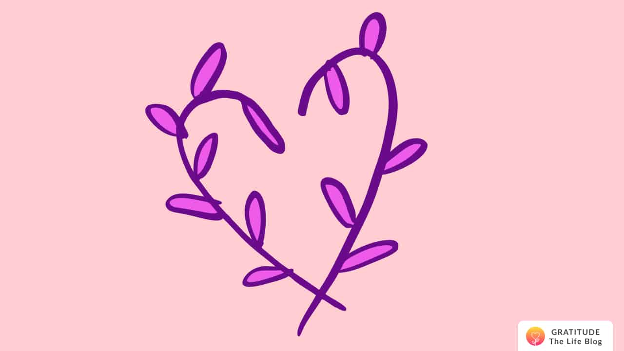 A purple and pink heart of leaves