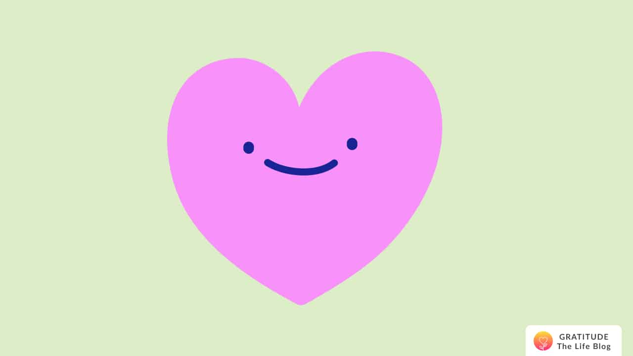 Illustration of a smiling pink heart