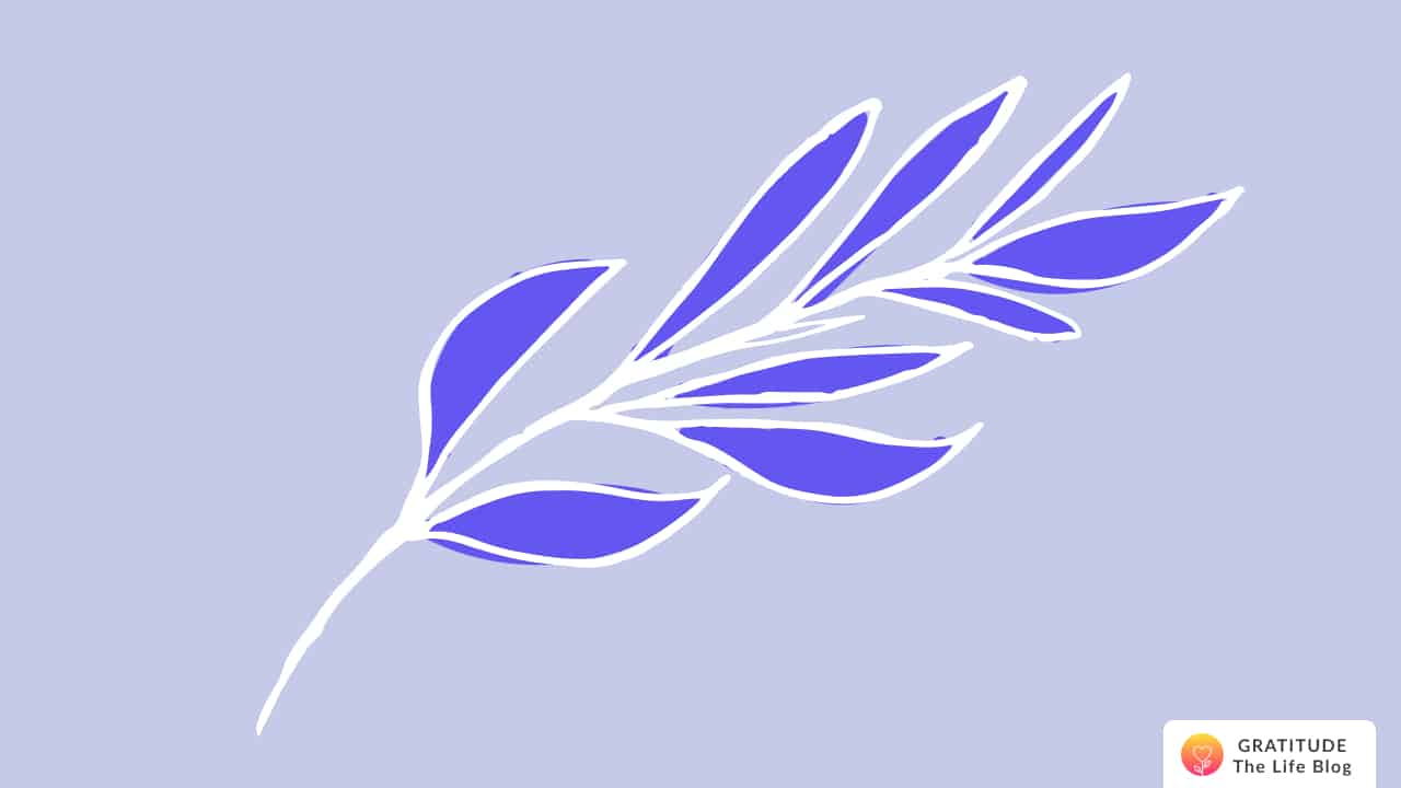 Illustration of a white and blue leaf branch