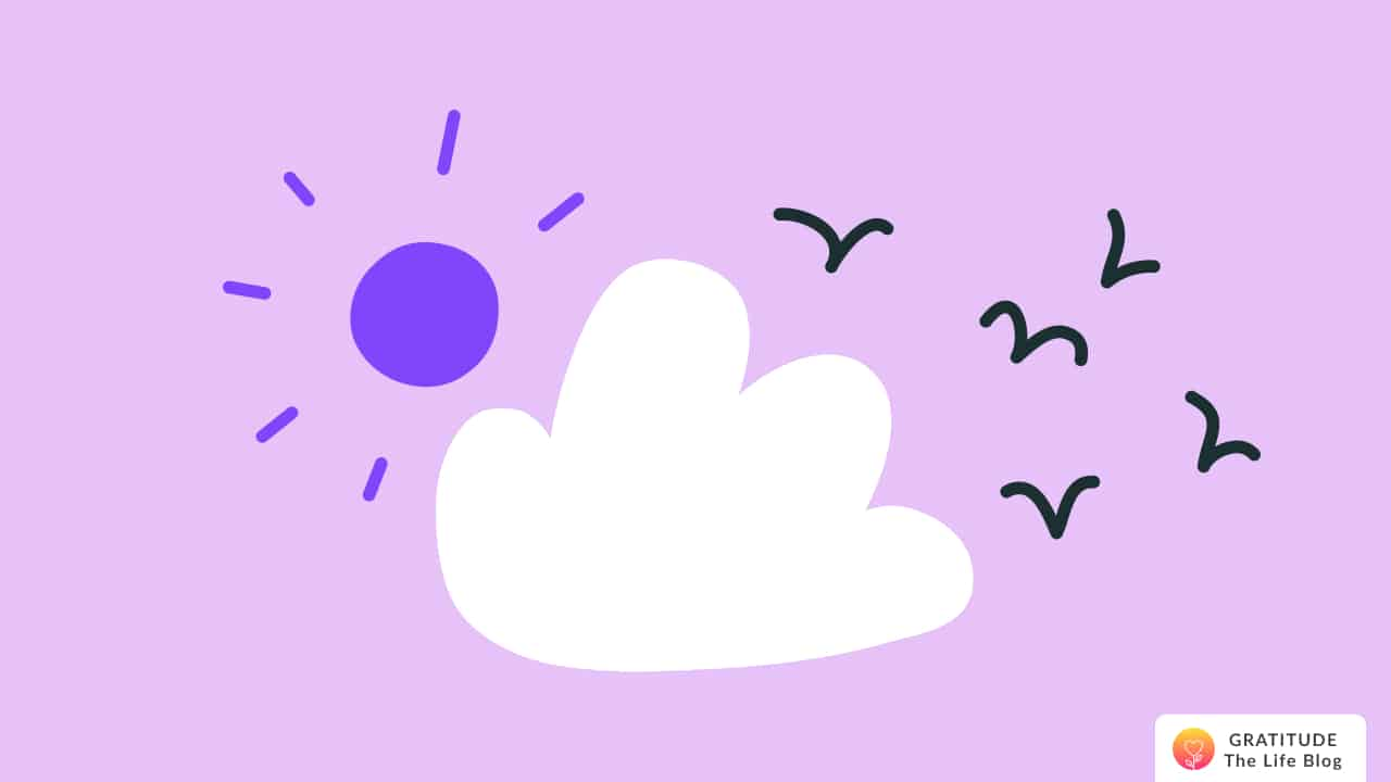 Illustration of a pink sky with a purple sun, white cloud, and flying birds