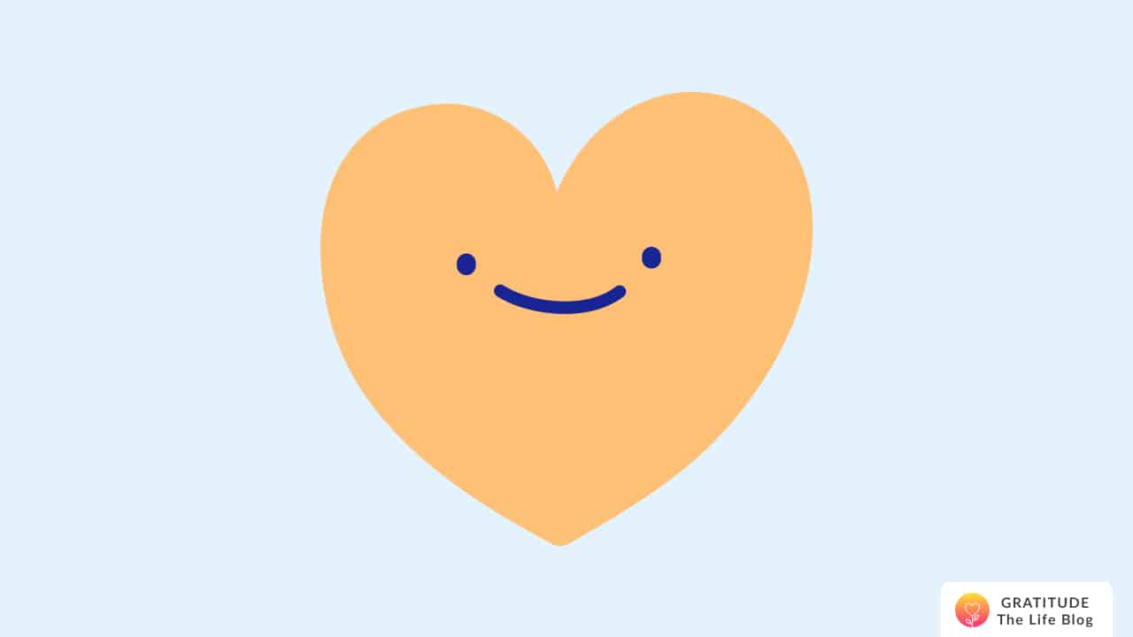 Illustration of an orange smiling heart