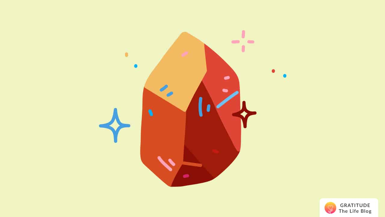 Illustration of a orange and red sparkling stone