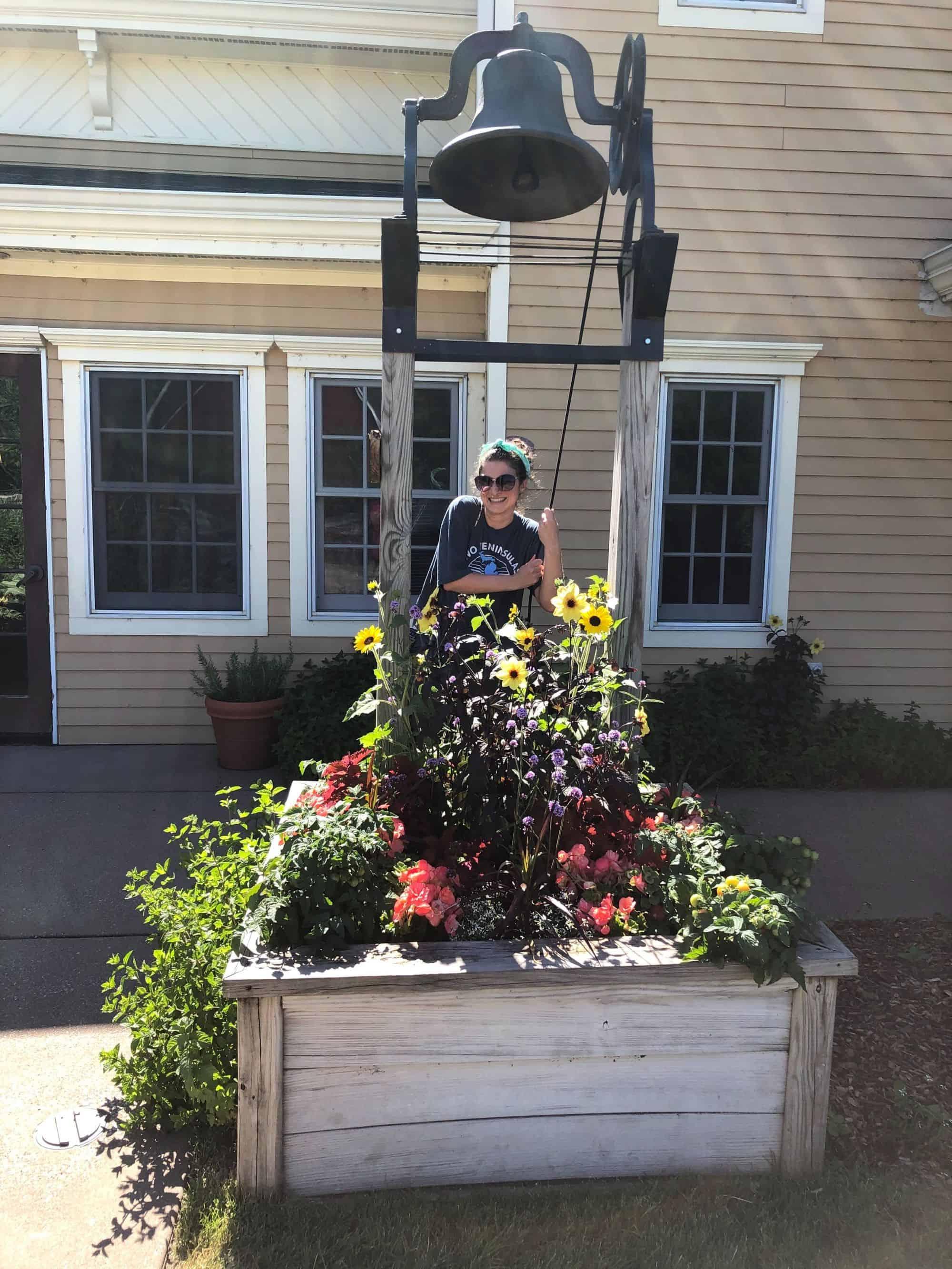 A photo of Chiara in her backyard