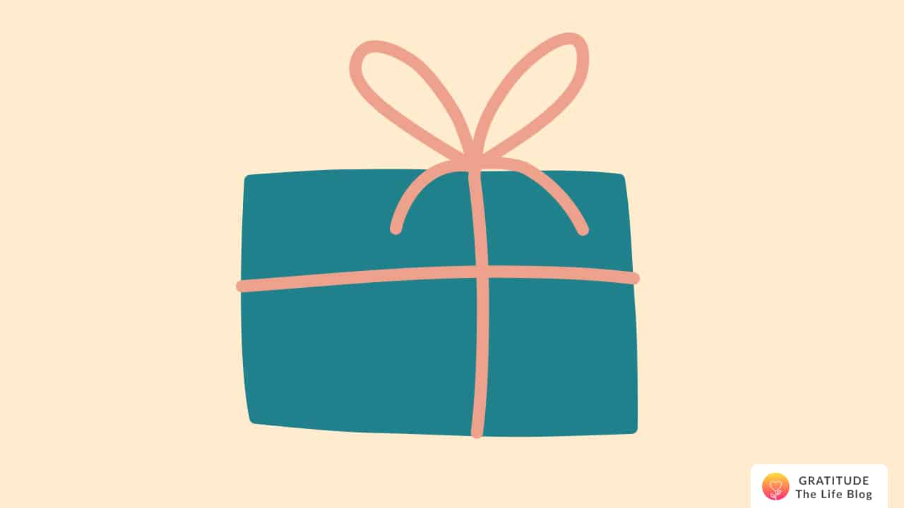 This is an illustration of a gift wrapped in teal-coloured paper