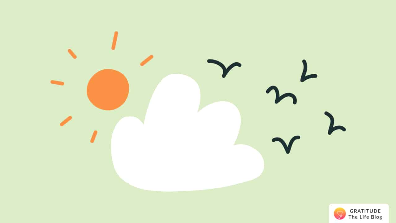 Illustration of a bright sky with the sun, clouds and flying birds