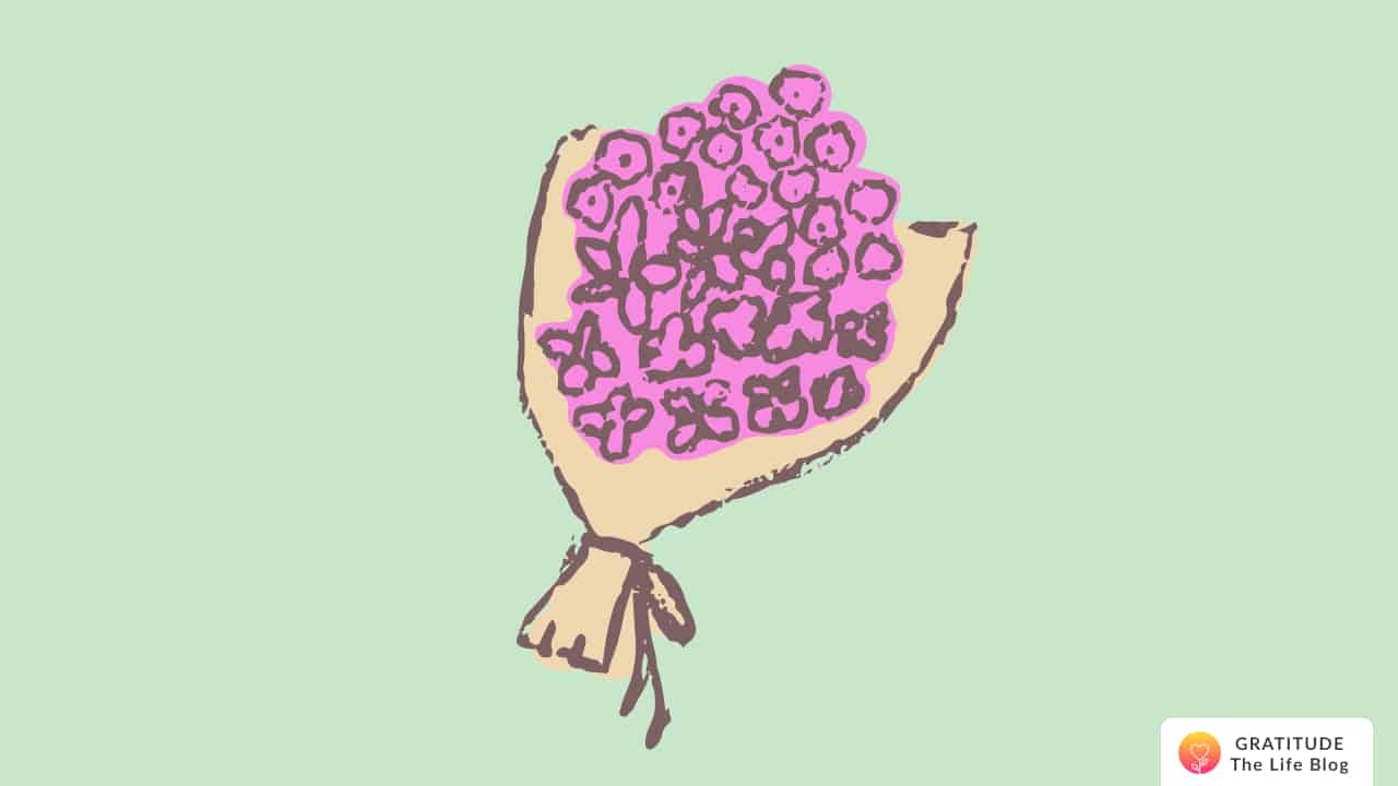 Illustration of a bouquet with pink flowers