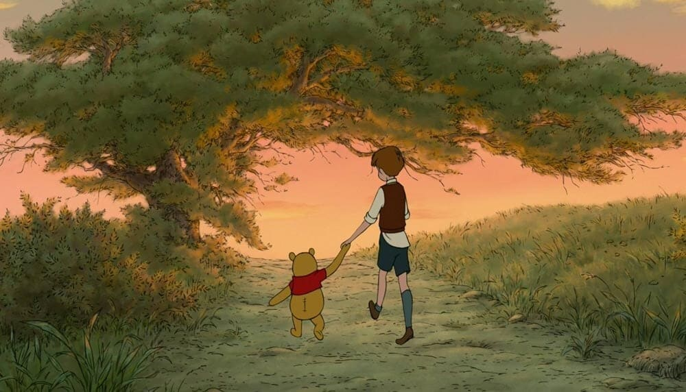 Winnie the Pooh walking with his friend, Christopher Robin