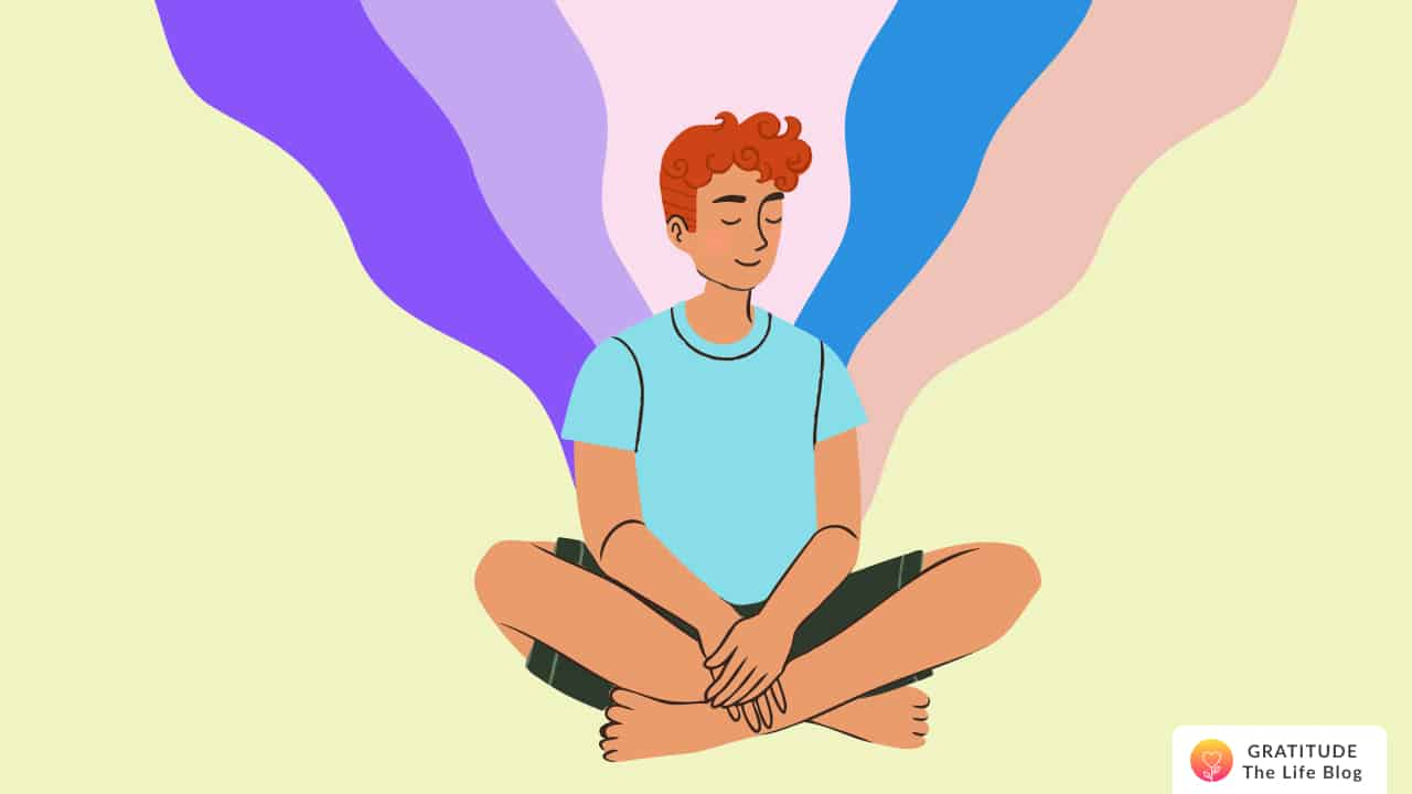 Illustration of a person sitting cross-legged with a wave of colors in the background